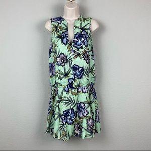 Alice + Olivia Mint Green Floral Viscose Dress